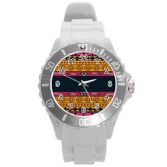 Pattern Ornaments Africa Safari Summer Graphic Round Plastic Sport Watch (l) by Amaryn4rt