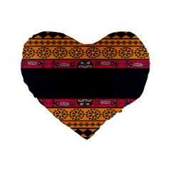 Pattern Ornaments Africa Safari Summer Graphic Standard 16  Premium Flano Heart Shape Cushions by Amaryn4rt