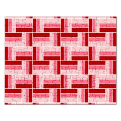 Pink Red Burgundy Pattern Stripes Rectangular Jigsaw Puzzl by Amaryn4rt