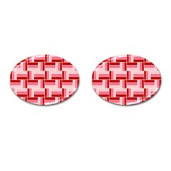 Pink Red Burgundy Pattern Stripes Cufflinks (oval) by Amaryn4rt