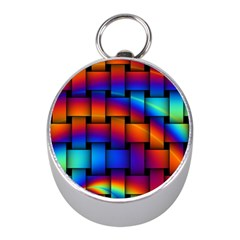 Rainbow Weaving Pattern Mini Silver Compasses by Amaryn4rt