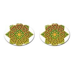 Star Pattern Tile Background Image Cufflinks (oval)