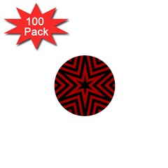 Star Red Kaleidoscope Pattern 1  Mini Buttons (100 Pack)  by Amaryn4rt