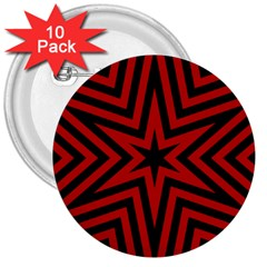 Star Red Kaleidoscope Pattern 3  Buttons (10 Pack)  by Amaryn4rt