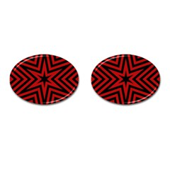 Star Red Kaleidoscope Pattern Cufflinks (oval) by Amaryn4rt