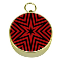Star Red Kaleidoscope Pattern Gold Compasses by Amaryn4rt