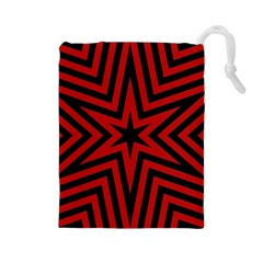 Star Red Kaleidoscope Pattern Drawstring Pouches (large)  by Amaryn4rt