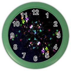 Star Structure Many Repetition Color Wall Clocks by Amaryn4rt