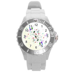 Star Structure Many Repetition Round Plastic Sport Watch (l) by Amaryn4rt