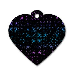 Stars Pattern Seamless Design Dog Tag Heart (two Sides) by Amaryn4rt