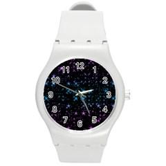 Stars Pattern Seamless Design Round Plastic Sport Watch (m) by Amaryn4rt
