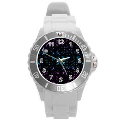 Stars Pattern Seamless Design Round Plastic Sport Watch (l) by Amaryn4rt