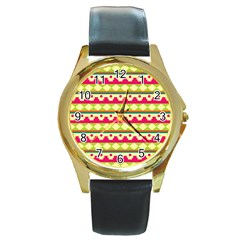 Tribal Pattern Background Round Gold Metal Watch
