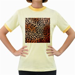 Tiger Motif Animal Women s Fitted Ringer T Shirts