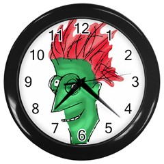 Crazy Man Drawing  Wall Clocks (black)