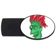 Crazy Man Drawing  Usb Flash Drive Oval (4 Gb)