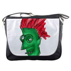 Crazy Man Drawing  Messenger Bags