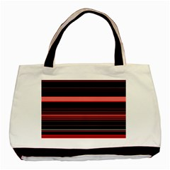 Abstract Of Red Horizontal Lines Basic Tote Bag by Amaryn4rt