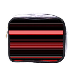Abstract Of Red Horizontal Lines Mini Toiletries Bags