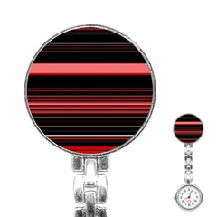 Abstract Of Red Horizontal Lines Stainless Steel Nurses Watch by Amaryn4rt