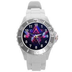 Abstract Desktop Backgrounds Round Plastic Sport Watch (l) by Amaryn4rt