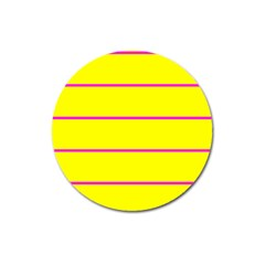 Background Image Horizontal Lines And Stripes Seamless Tileable Magenta Yellow Magnet 3  (round) by Amaryn4rt