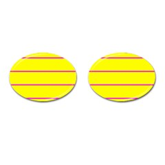 Background Image Horizontal Lines And Stripes Seamless Tileable Magenta Yellow Cufflinks (oval) by Amaryn4rt