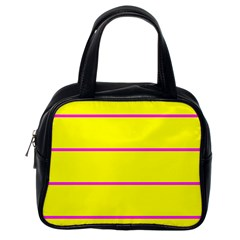 Background Image Horizontal Lines And Stripes Seamless Tileable Magenta Yellow Classic Handbags (one Side) by Amaryn4rt