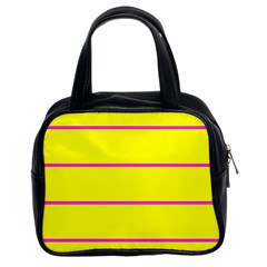 Background Image Horizontal Lines And Stripes Seamless Tileable Magenta Yellow Classic Handbags (2 Sides)