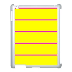 Background Image Horizontal Lines And Stripes Seamless Tileable Magenta Yellow Apple Ipad 3/4 Case (white) by Amaryn4rt