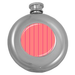Background Image Vertical Lines And Stripes Seamless Tileable Deep Pink Salmon Round Hip Flask (5 Oz) by Amaryn4rt