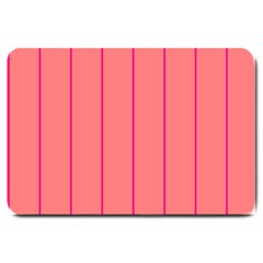 Background Image Vertical Lines And Stripes Seamless Tileable Deep Pink Salmon Large Doormat  by Amaryn4rt