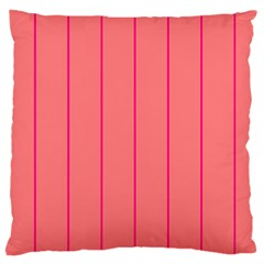 Background Image Vertical Lines And Stripes Seamless Tileable Deep Pink Salmon Large Cushion Case (one Side) by Amaryn4rt