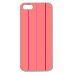 Background Image Vertical Lines And Stripes Seamless Tileable Deep Pink Salmon Apple Seamless Iphone 5 Case (clear) by Amaryn4rt