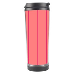 Background Image Vertical Lines And Stripes Seamless Tileable Deep Pink Salmon Travel Tumbler by Amaryn4rt