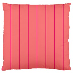 Background Image Vertical Lines And Stripes Seamless Tileable Deep Pink Salmon Large Flano Cushion Case (two Sides) by Amaryn4rt