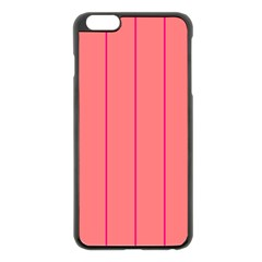 Background Image Vertical Lines And Stripes Seamless Tileable Deep Pink Salmon Apple Iphone 6 Plus/6s Plus Black Enamel Case by Amaryn4rt