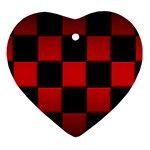 Black And Red Backgrounds Ornament (Heart) Front