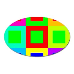 Colors Purple And Yellow Oval Magnet by Amaryn4rt