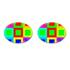 Colors Purple And Yellow Cufflinks (oval) by Amaryn4rt