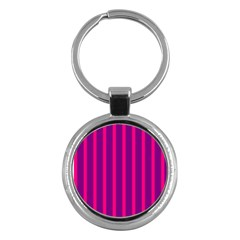 Deep Pink And Black Vertical Lines Key Chains (round)  by Amaryn4rt