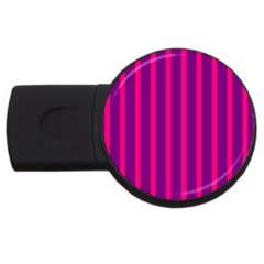 Deep Pink And Black Vertical Lines Usb Flash Drive Round (2 Gb) by Amaryn4rt