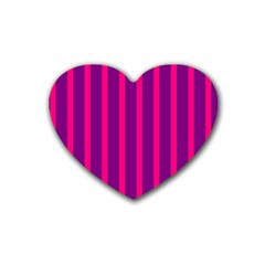 Deep Pink And Black Vertical Lines Heart Coaster (4 Pack)  by Amaryn4rt