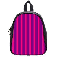 Deep Pink And Black Vertical Lines School Bags (small)  by Amaryn4rt