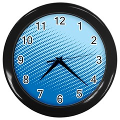 Blue Dot Pattern Wall Clocks (black) by Amaryn4rt