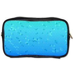 Blue Seamless Black Hexagon Pattern Toiletries Bags by Amaryn4rt