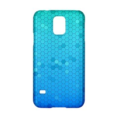 Blue Seamless Black Hexagon Pattern Samsung Galaxy S5 Hardshell Case  by Amaryn4rt