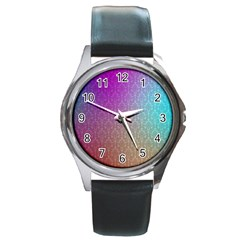Blue And Pink Colors On A Pattern Round Metal Watch by Amaryn4rt
