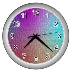 Blue And Pink Colors On A Pattern Wall Clocks (silver)  by Amaryn4rt