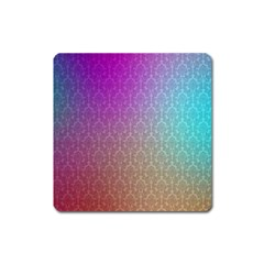 Blue And Pink Colors On A Pattern Square Magnet by Amaryn4rt